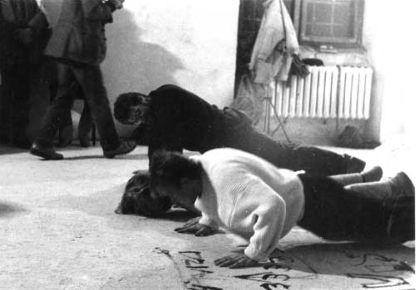 Artyste. ktory sie starzeje trzeba dobic @ Zbigniew Warpechowski. 1988. Centrum Sztuki wspolczsnej. Varsovie. photo. Dariusz Krzosek