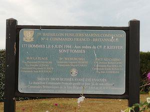 Souvenir du débarquement du commando du Commandant KIEFFER