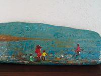 peinture à l'huile sur bois flotté