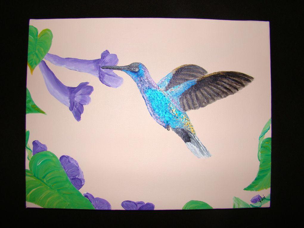 Mes tableaux acryliques avec parfois tissu, ruban, paillettes, etc...
