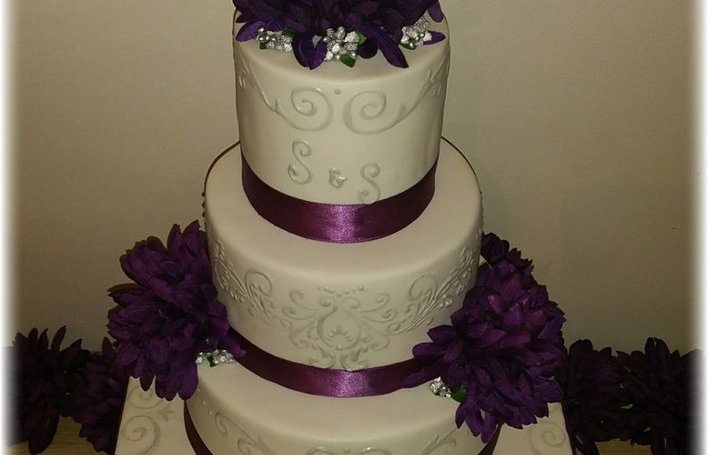 Wedding Cake Purple and Silver