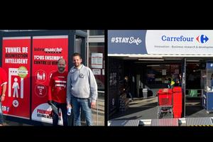Sas de désinfection : nos amis Belges Intermarché et Carrefour BE testent leurs solutions à l'entrée des magasins …