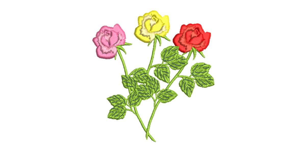 BRODERIE 3 ROSES