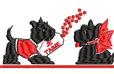 BRODERIE CHIENS AMOUREUX