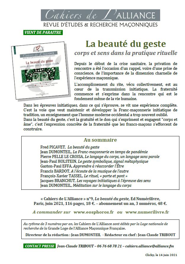 """Cahiers de l'Alliance N° 9 : """"La beauté du geste. Corps et sens dans la Pratique Rituelle""""."""