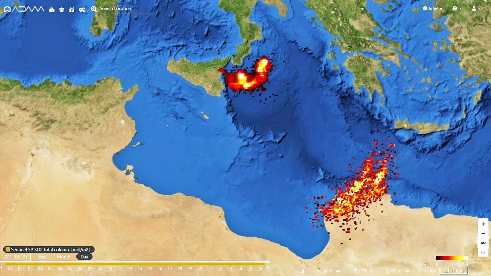 Etna - the trace of 2 eruptions on one image: SO2 plume of 27 and 26.06 - Doc. Adam Platform / Sentinel -5P