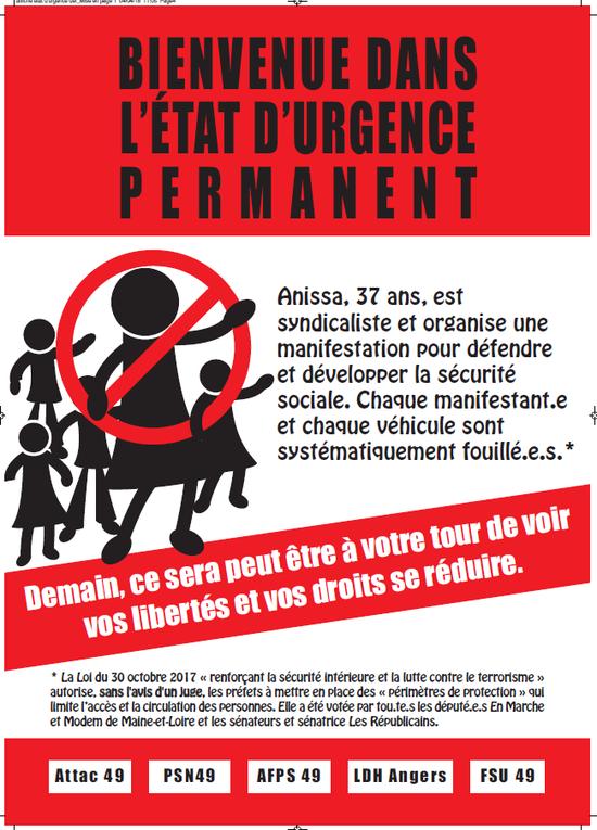 Angers - Campagne d'affichages contre l'état d'urgence permanent