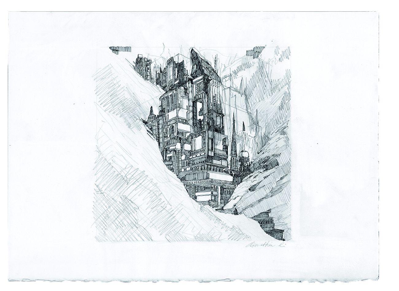 Ville en ruine I 2020, Graphite et encre de chine sur papier, 38 x 28 cm, photo : Kym Nguyen