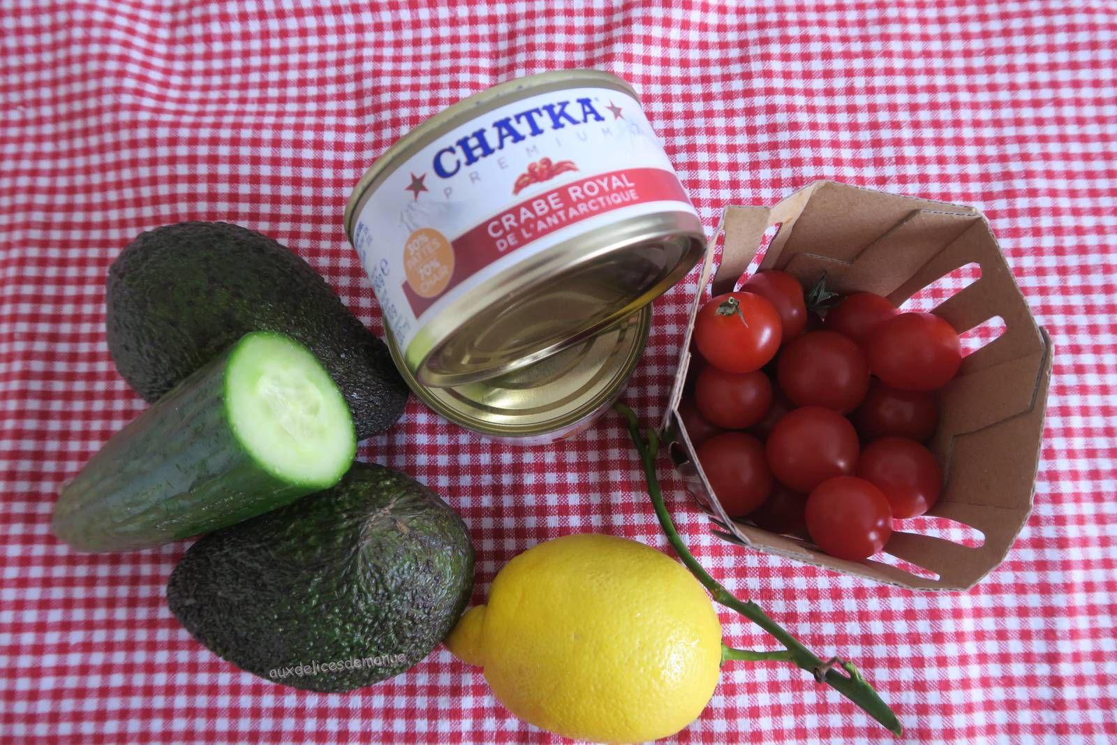 Verrines de crabe à l'avocat, tomates cerise et concombre