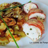 Mousse de poulet bardée de fines tranches de lard accompagnée d'une sauce au soumaintrain - La cuisine de Ponpon: rapide et facile!
