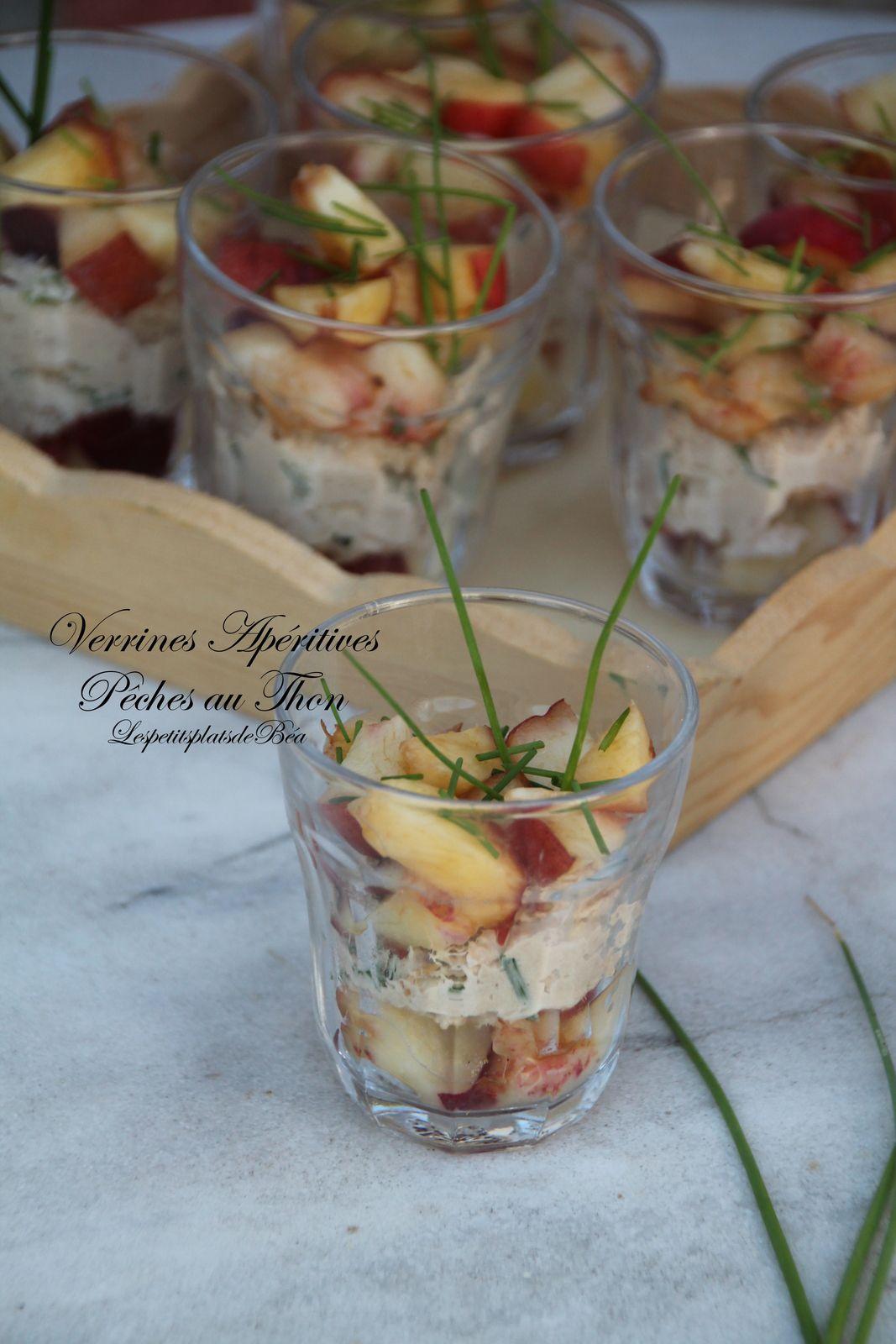 Pêches au thon en verrine apéritive