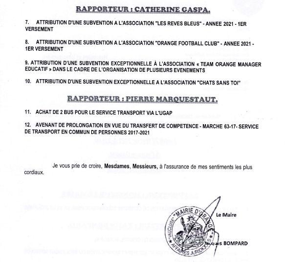 Ordre du jour Conseil municipal du 22 février 2021