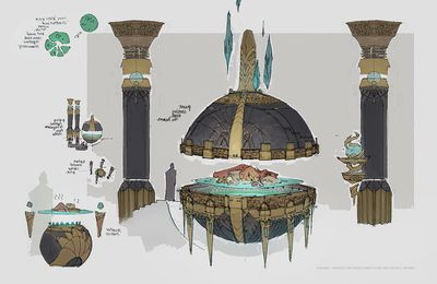 Guild hall props & Guild Wars 2 - Asuran underground sketches (Carlyn Lim)
