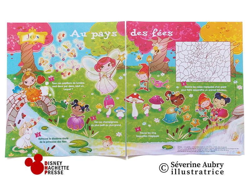 Illustration pour double page de jeux - Princesses Disney mag - 2008