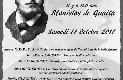 Colloque Stanilas de Guaïta à Paris le 14 octobre 2017 à l'occasion du 120ème anniversaire de sa mort.
