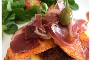 Filets de rouget au jambon espagnol