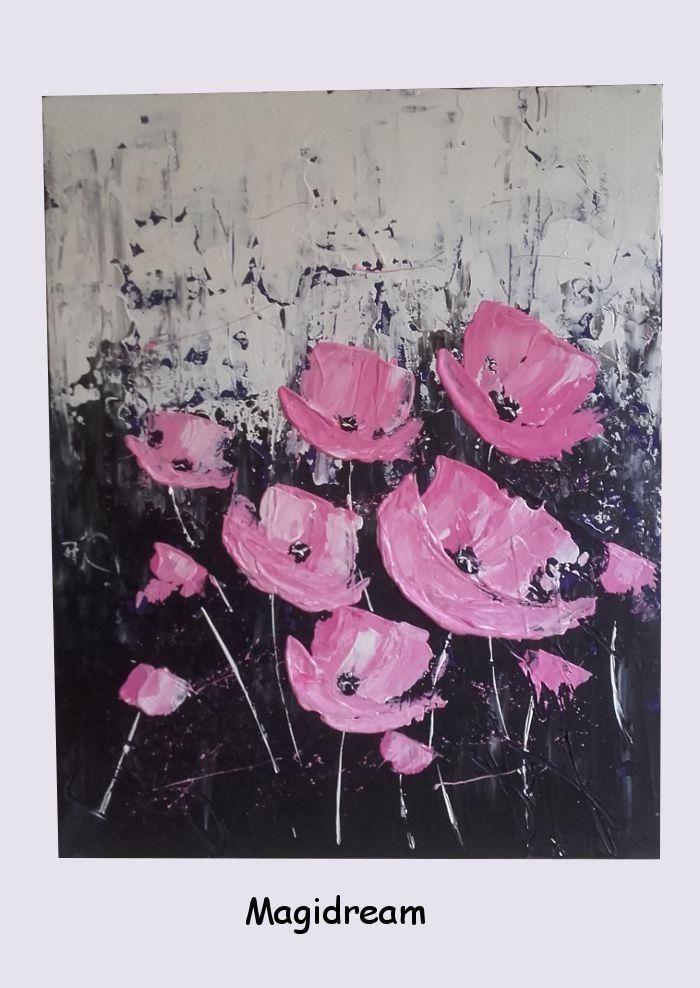PINK FLOWERS    45€  40 X 50 cm