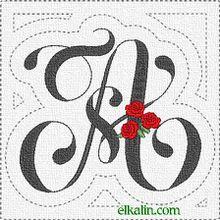 ABC à la rose: la lettre A quiltée