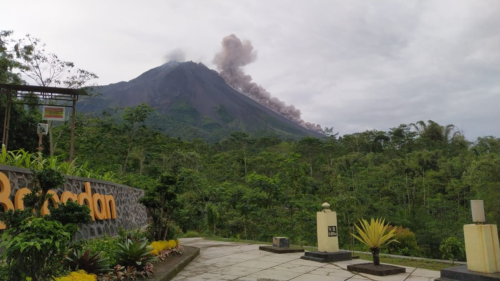 Merapi - June 17, 2021 at 7.10 WIB, a pyroclastic flow is moving over 2000 m. South West direction- Merapi observatory photo