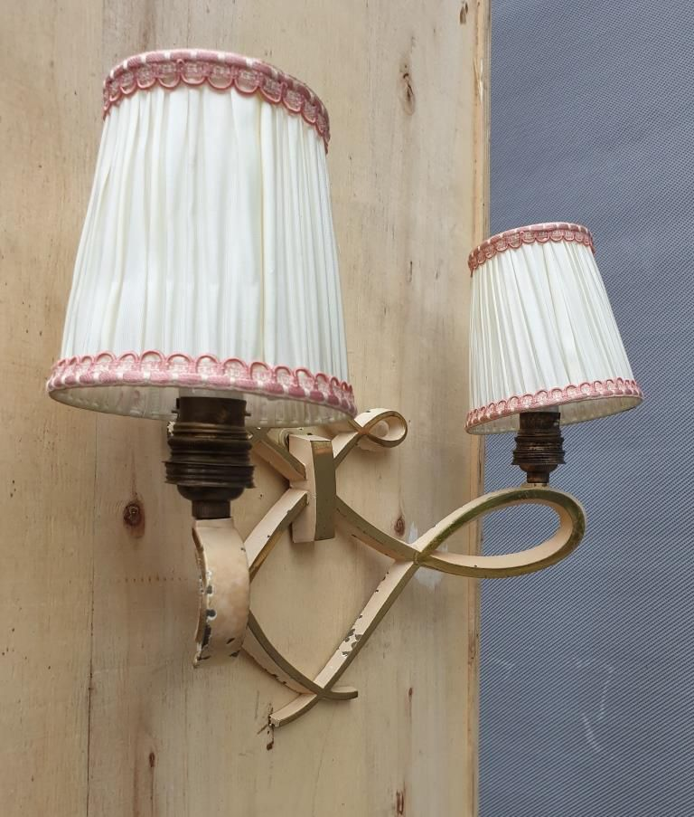 APPLIQUE CHANDELIER DOUBLE LAITON 1940 DESIGN LELEU - 95 euros