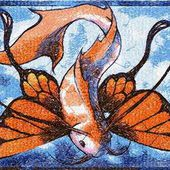 Fish butterfly photo stitch free embroidery design