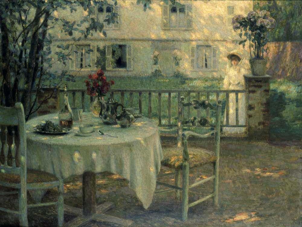 Henri le sidaner - L'après-midi, la table dans le jardin, Gerberoy