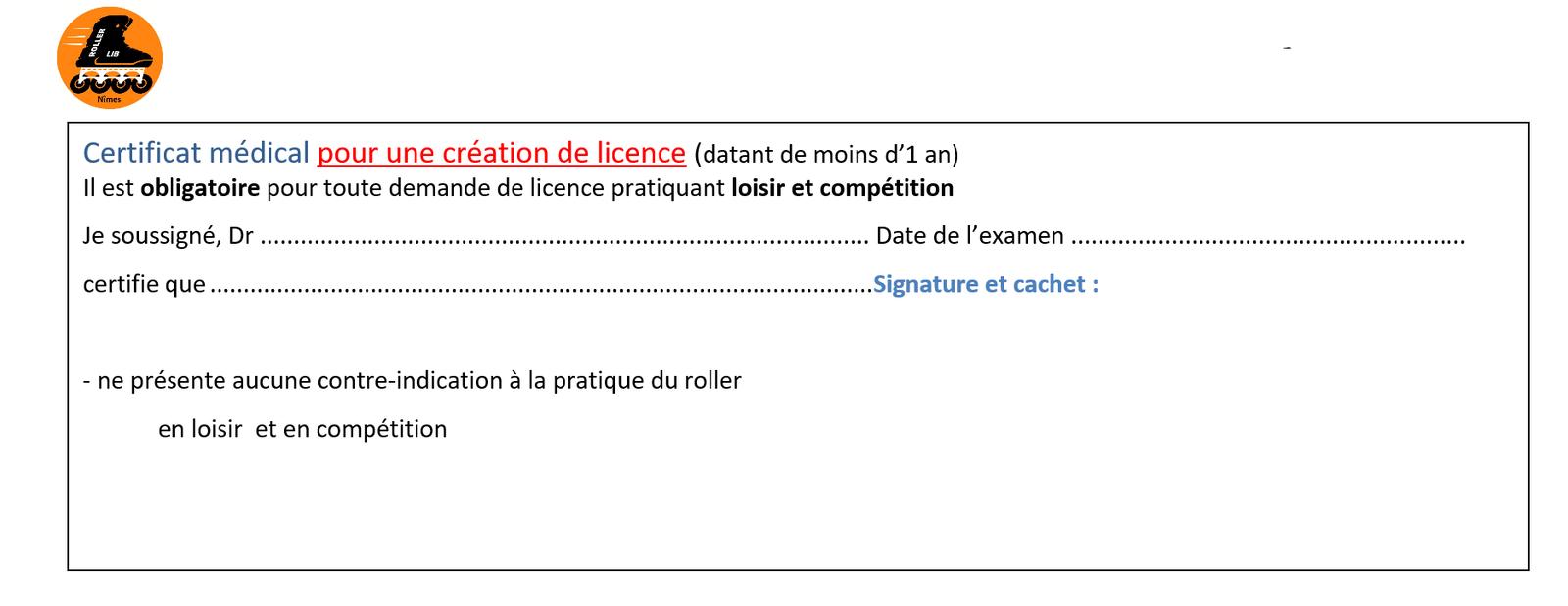 certificat médical, sport, club, roller, nimes