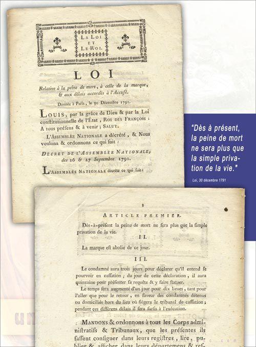 La Peine de mort de la guillotine à l'abolition : exposition à louer / imprimer