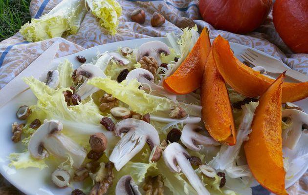 Salade de Friseline, potimarron grillé, champignons et noix