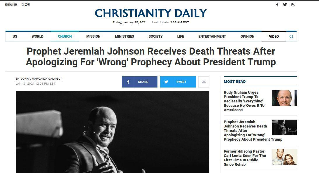 Jeremiah Johnson s'excuse pour sa prophétie sur Trump, il perd des partenaires et reçoit des menaces de mort !