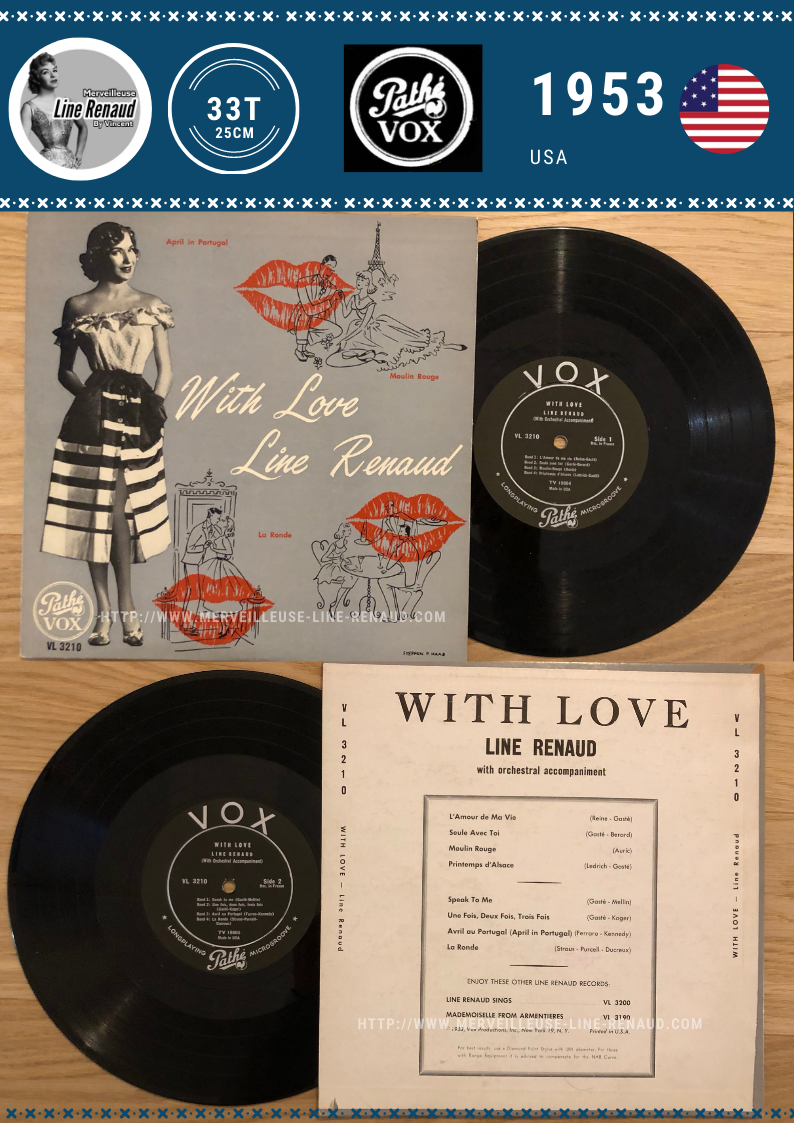 33 TOURS: 1953 Pathé/Vox - PG 303 - With Love Line Renaud (V2) (USA)