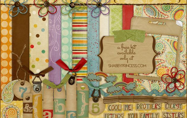 """Kit scrapbooking by Shabby Princess """"happy go lucky..."""""""
