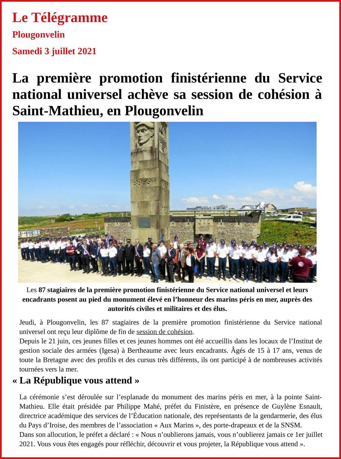 1er JUILLET 2021-LA PREMIÈRE PROMOTION DU SERVICE NATIONAL UNIVERSEL AU MÉMORIAL NATIONAL DES MARINS MORTS POUR LA FRANCE (REPORTAGE PHOTOGRAPHIQUE)