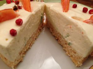 Cheese cake au citron vert et aux crevettes