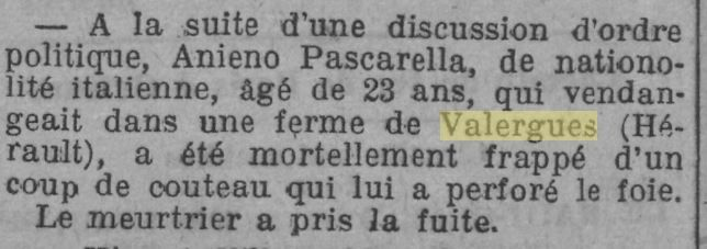 En 1924 à Valergues un terrible fait divers