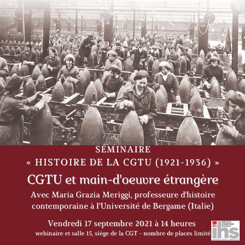 """""""CGTU et main-d'œuvre étrangère"""" : une séance du séminaire """"Histoire de la CGTU"""" vendredi 17 septembre à 14h"""