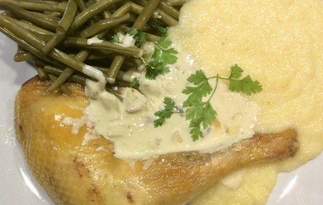 poulet rôti et polenta crémeuse, sauce aux cèpes
