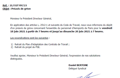 Préavis de grève CGT du 18 juin 2021