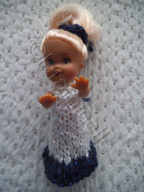 tuto gratuit poupée: robe longue pour mini poupée à tricoter en une demi heure
