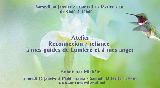"""Atelier """"Reconnexion - Reliance à mes guides de Lumière et à mes anges"""""""