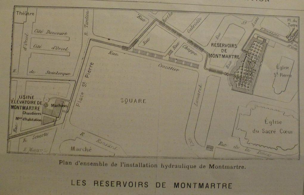 """Plan des réservoirs d'eau de Montmartre en 1889 -Source : """"L'Illustration"""" (Décembre 1889)"""