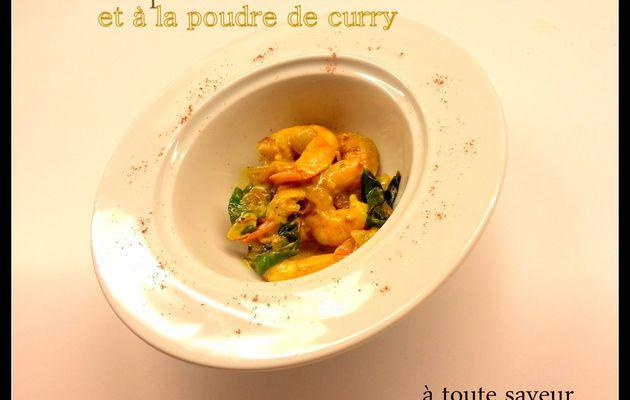 Gambas poêlées au basilic et à la poudre de curry