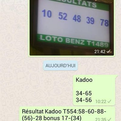 Resultats Loto Kadoo T554 (two sure gagné)