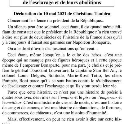 Déclaration de Christiane Taubira