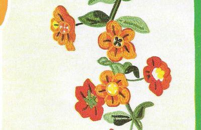 Broderie main : les giiroflées et la branche de godétia