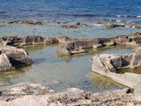 L'ancienne région messapienne, le port d'Egnazia tel qu'il était et aujourd'hui et traces des anciens villages près de San Vito