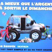 CARTE POSTALE RENAULT KANGOO EQUIPEE DECATHLON - IL Y A MIEUX QUE L'ARGENTERIE A SORTIR LE DIMANCHE - car-collector.net