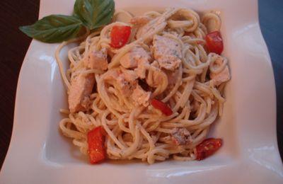 Spaghettis au saumon et aux 2 tomates