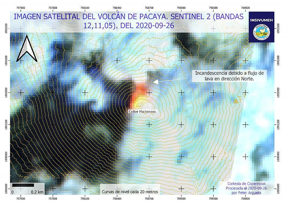 Pacaya - sismicité au 26.09.2020 et image Sentinel2 bands 12,11,5 (une des coulées masquée par les nuages)