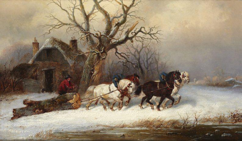 Le Tableau du Samedi: Alexis de Leeuw, Paysage hivernal avec des chevaux